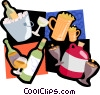 drinking ice bucket, booze, glasses Vector Clip Art picture