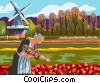 Vector Clipart image  of a Danish girl picking flowers