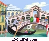 Vector Clip Art graphic  of a Couple in sight seeing gondola