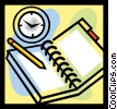 Vector Clip Art graphic  of a pad and pencil
