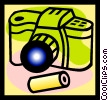 Vector Clip Art image  of a camera and film