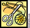 needles, thread, scissors Vector Clipart image