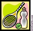 tennis racket, with ball and water bottle Vector Clipart illustration