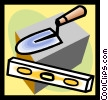 Vector Clipart image  of a brick laying tools