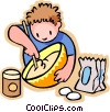 little boy missing flour in a bowl Vector Clipart graphic