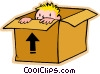 Vector Clipart illustration  of a little boy hiding in a box