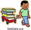 Vector Clip Art graphic  of a Little boy pulling a wagon