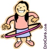 Vector Clipart illustration  of a little girl with a hula hoop