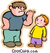Vector Clip Art image  of a little boy with a bully