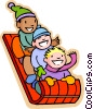 children tobogganing Vector Clip Art graphic
