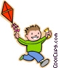 Vector Clipart illustration  of a boy with a kite