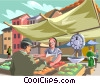 market scene, person buying fruits and vegetables Vector Clip Art image
