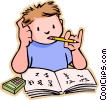Vector Clipart picture  of a Boy doing his home work