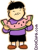 Boy eating watermelon Vector Clip Art picture