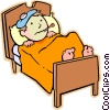 Vector Clipart illustration  of a Boy sick in bed with the flu