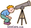boy looking through telescope Vector Clip Art picture