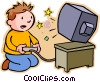 Vector Clip Art picture  of a Boy playing video game