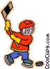 Vector Clip Art image  of a Boy playing hockey
