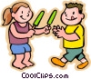 kids eating a Popsicle, sharing Vector Clipart illustration