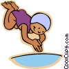 Little girl diving into pool Vector Clipart picture