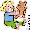 Vector Clip Art image  of a little girl with a teddy bear