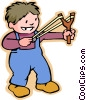 Vector Clipart graphic  of a little boy with a slingshot