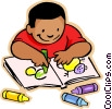 Little boy with crayons and coloring book Vector Clipart graphic
