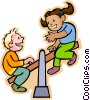 Vector Clip Art graphic  of a boy and girl on a teeter