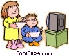 Vector Clipart picture  of a boy and girl eating breakfast