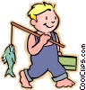 Little boy with his fishing pole Vector Clip Art image