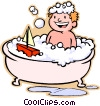 Vector Clip Art picture  of a boy taking a bath