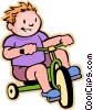 Little boy riding a tricycle Vector Clipart illustration