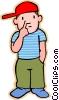 Vector Clipart graphic  of a little boy picking his nose