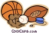 Sports equipment, basketball, baseball  glove Vector Clipart illustration