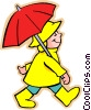 Vector Clipart image  of a Boy with umbrella