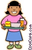 Vector Clip Art image  of a Little girl with lunch