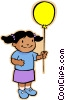 Vector Clipart graphic  of a girl with balloon