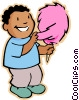 Vector Clip Art graphic  of a boy with candy floss