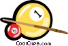 Billiards, pool, pool cue Vector Clipart image