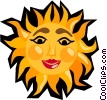 Vector Clipart graphic  of a The smiling sun