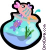 gold fish, fish bowl Vector Clip Art image