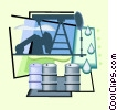 oil wells Vector Clip Art graphic