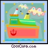 Vector Clipart picture  of a cruise ship in decorative
