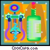 Vector Clipart illustration  of a wine bottle and corkscrew