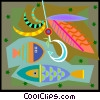 trying to catch fish in decorative background Vector Clipart illustration
