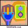 Vector Clip Art graphic  of a power outlet with plug