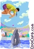 Vector Clipart image  of a whale trainer on diving board