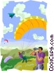 Vector Clip Art graphic  of a hang gliding