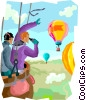 Vector Clip Art image  of a hot air ballooning