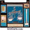 Vector Clip Art graphic  of a weighing evidence with a gavel